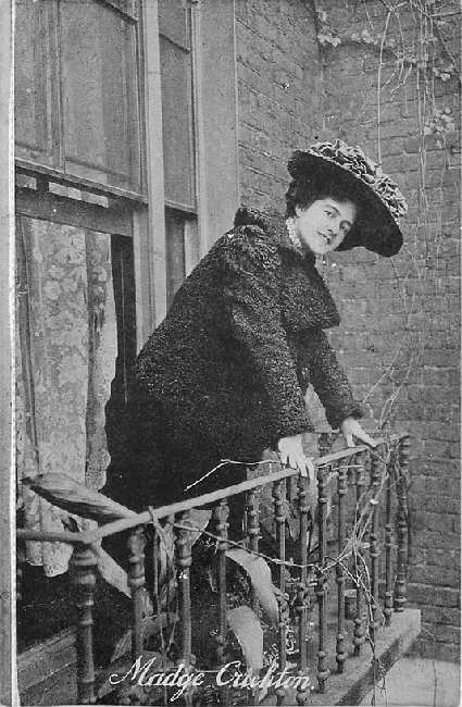 Madge Crichton Leaning Over Balcony Railing Postcard