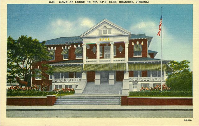 Home of Lodge No 197 B.P.O. ELKS Roanoke VA Postcard