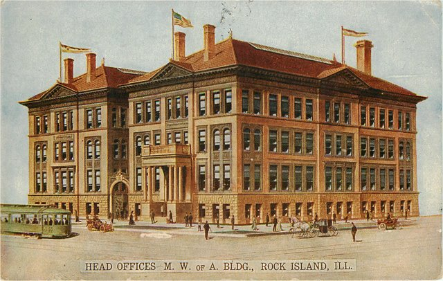 Head Offices M.W. of A. Building, Rock Island, IL Postcard
