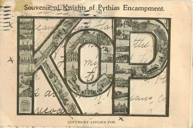 KOP Souvenir of Knights of Pythias Encampment Club Postcard