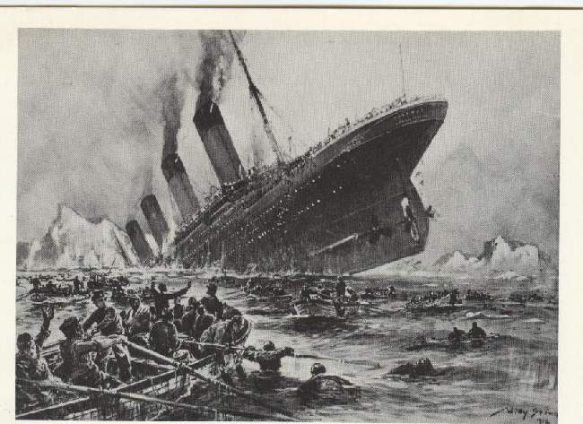 The sinking of the Titanic, 1912 painting by Willy Stoewer