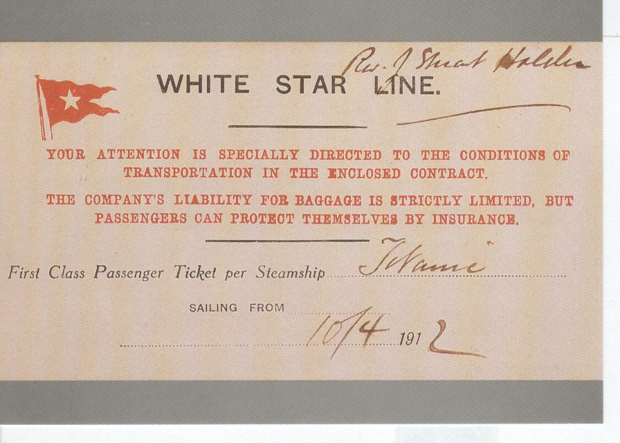 A Ticket for the Maiden Voyage of Titanic Reproduced Postcard