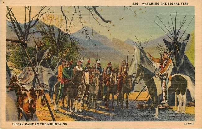 Indian Camp in the Mountains, Watching the Signal Fire - No. 936
