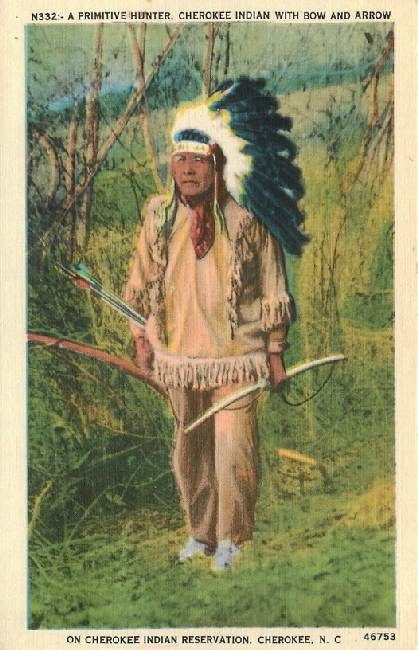 A Primitive Hunter, Cherokee Indian with Bow and Arrow - in NC