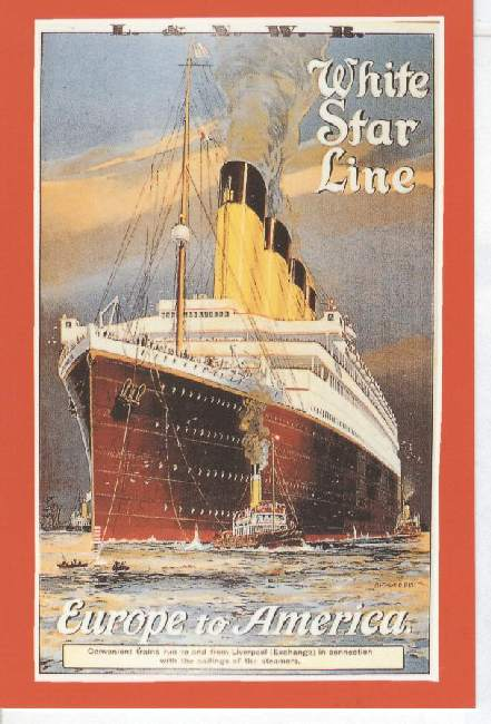White Star Line, Europe to America Marine Art Posters 1993