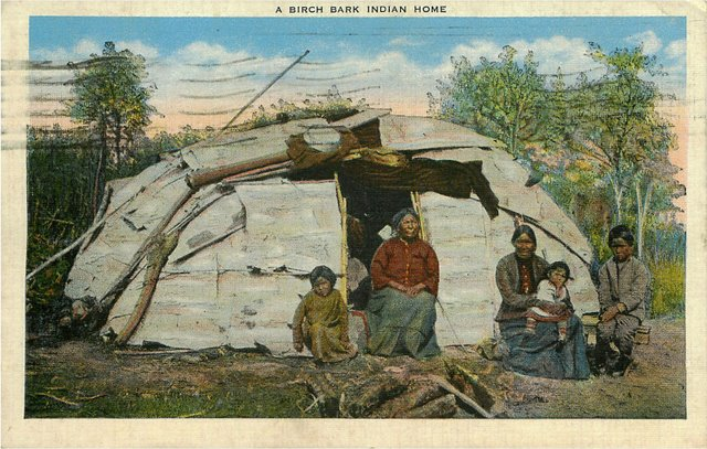 A Birch Bark Indian Home Postcard