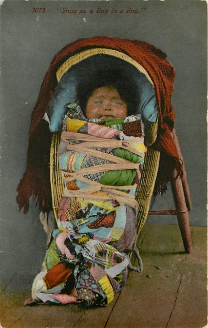 Snug as a Bug in a RUG Indian Postcard