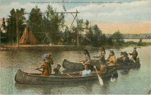 Hiawatha Play, Wayagamug, Michigan Postcard
