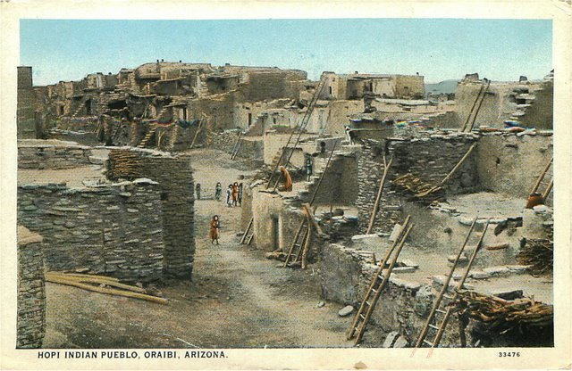 Hopi Indian Pueblo, Oraibi, Arizona Postcard