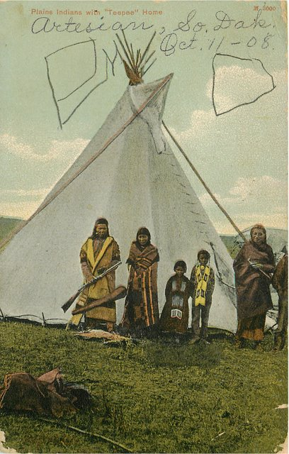 "Plains Indians with ""Teepee"" Home Postcard"