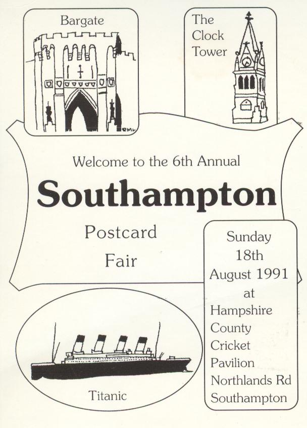 6th Annual Southampton Postcard Fair Titanic Reproduction Card
