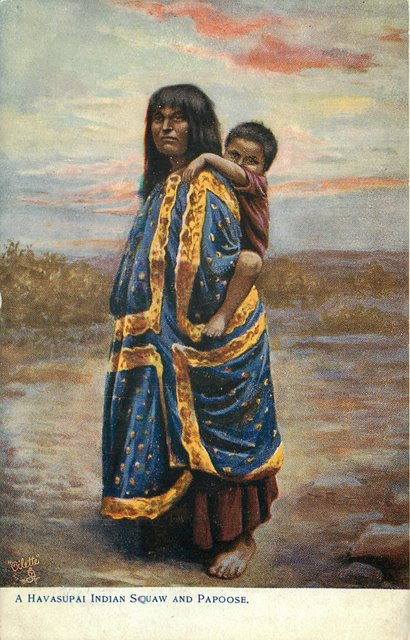 A Havasupi Indian and Papoose Postcard