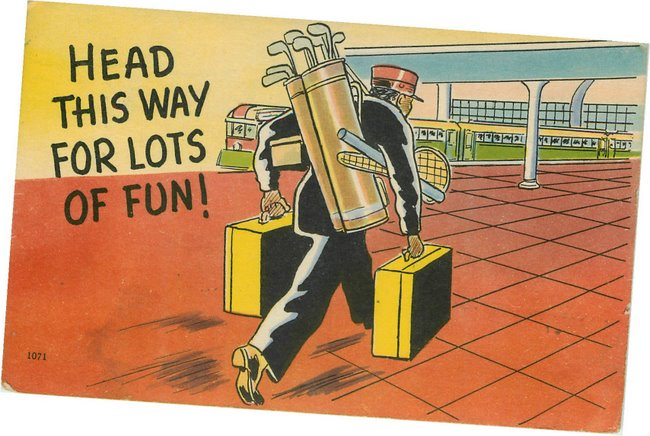 Black Americana Postcard - Head this way for lots of fun