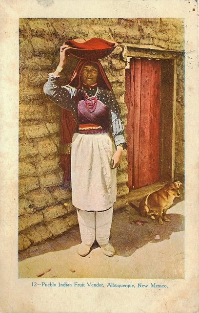 Pueblo Indian Fruit Vendor Postcard