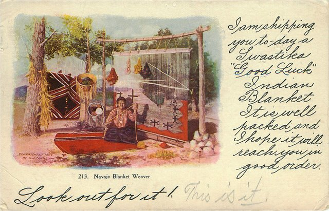 Navajo Blanket Weaver Indian Postcard