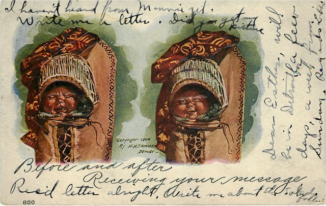 Two Indian Babies in Papoose Postcard
