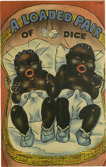 Black Americana Postcard - A loaded pair of dice-No. C-739