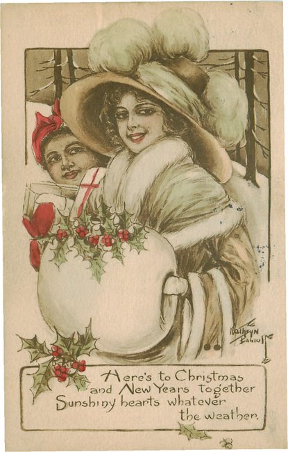 Black Americana Postcard Heres to Christmas & New Years together