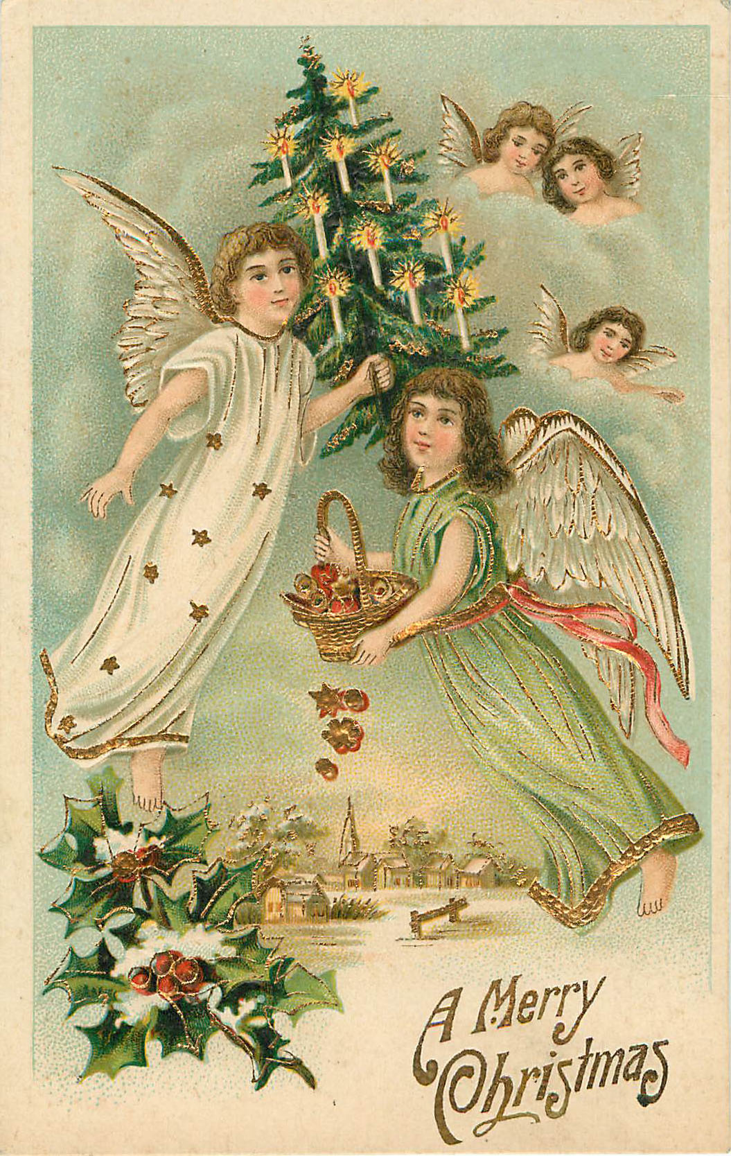 A Merry Christmas - Angels with Christmas tree and candles