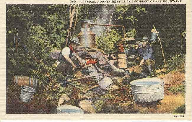 Alcohol Postcard - A typical moonshine still...