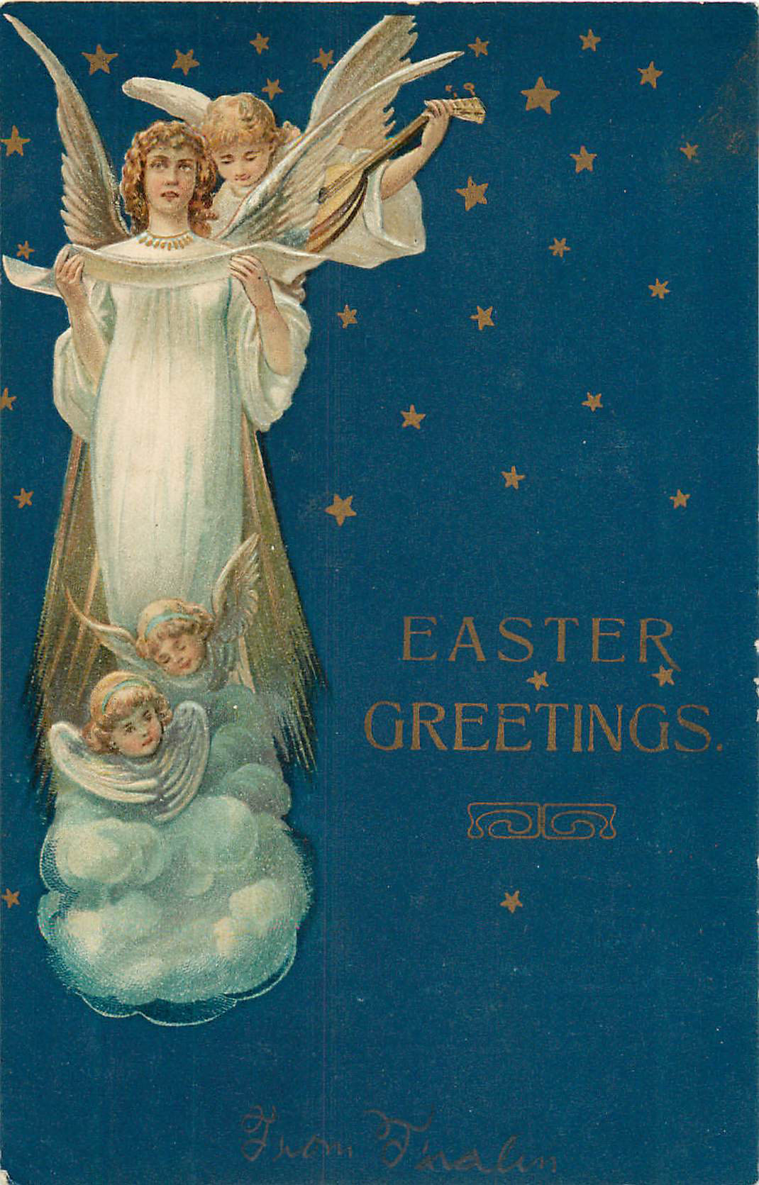 Easter Greetings - Dark Blue with small angels