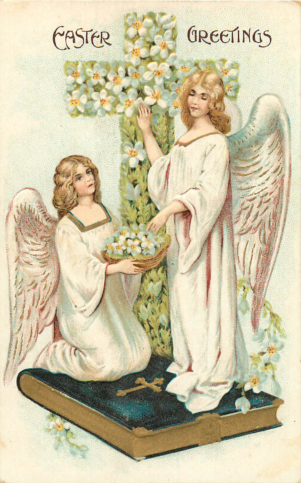 Easter Greetings - Angels with Cross and Bible
