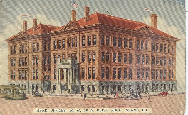 Head Offices M.W. of A. Bldg. Rock Island IL. Club Postcard