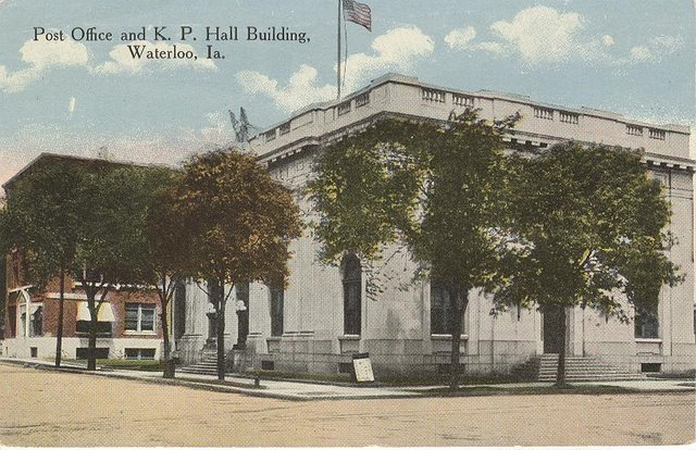 Post Office & K.P. Hall Building Waterloo, IA Club Postcard