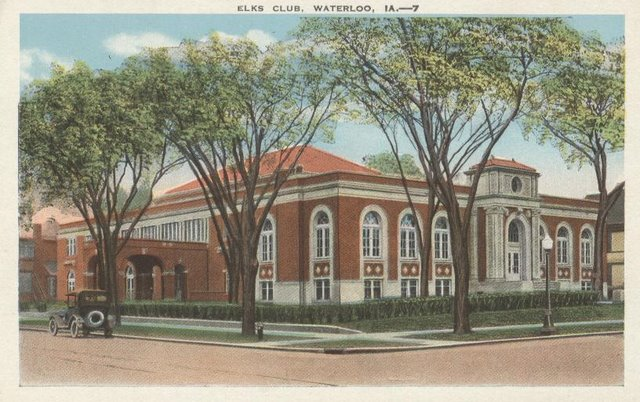 ELKS Club Waterloo, IA Club Postcard