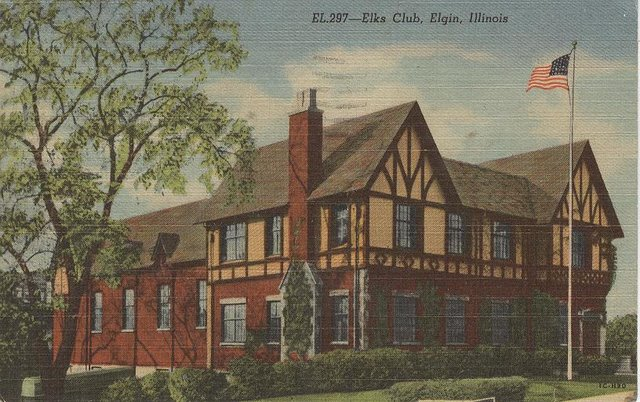 ELKS Club Elgin. Illinois Club Postcard