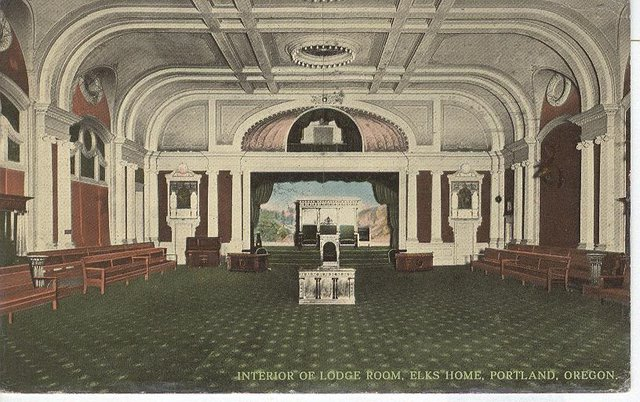 Interior of Lodge Room ELKS HOME Portland Oregon Postcard