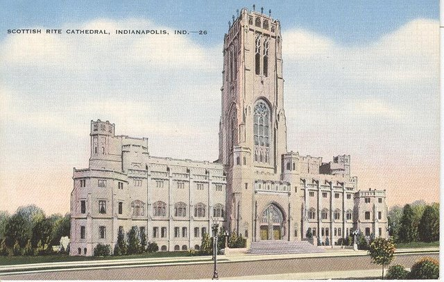 Scottish Rite Cathedral Indiana Club Postcard