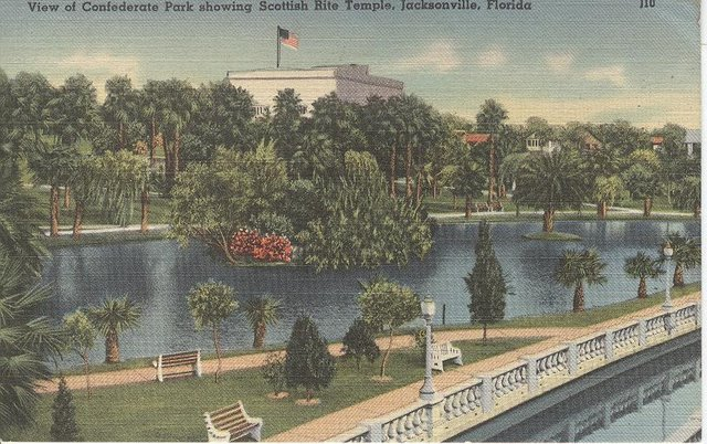 View of Confederate Park Showing Scottish Rite Temple Postcard
