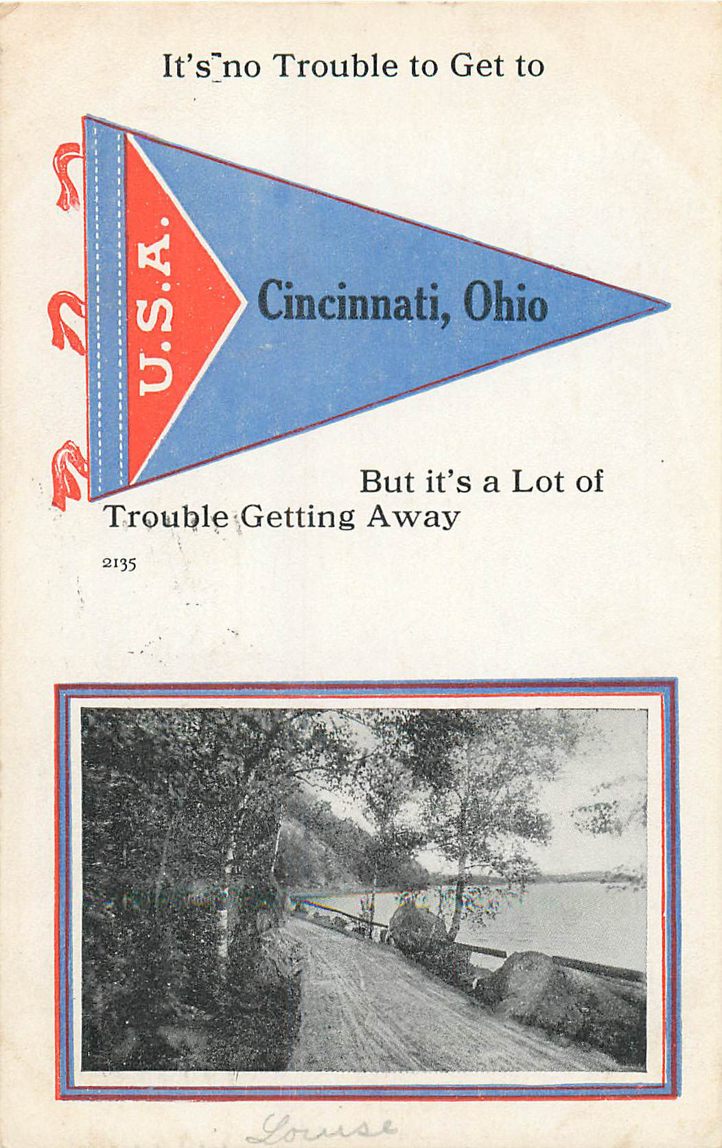 It's No Trouble to Get to Cincinncati OH - Pennant Postcard