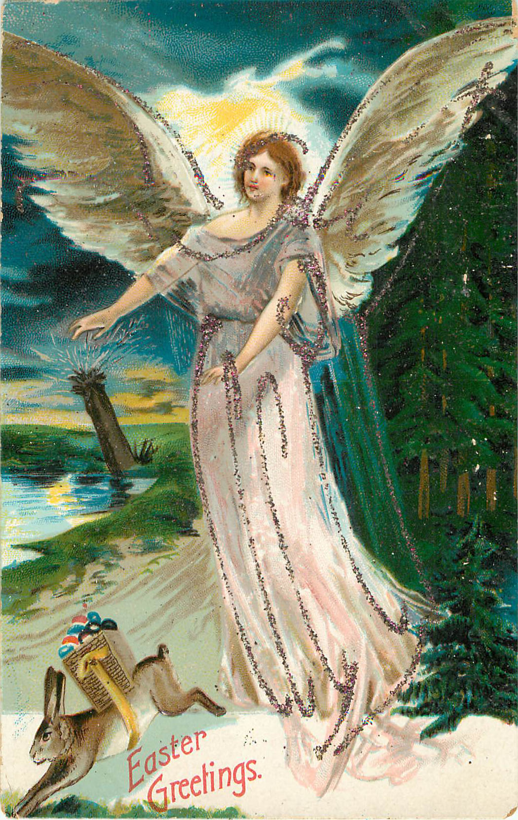 Easter Greetings - Angel with Bunny