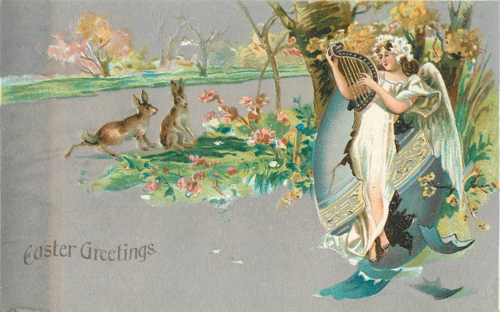 Easter Greetings - Angel playing a harp