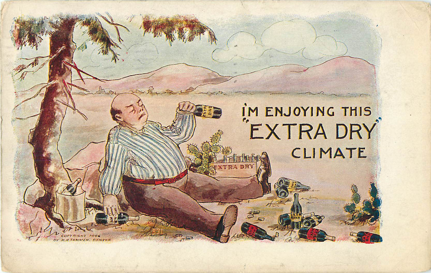 "Alcohol Postcard - I'm Enjoying his ""Extra Dry"" Climate"