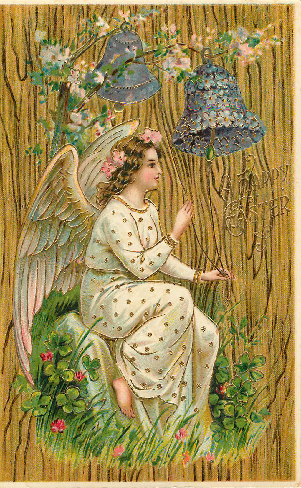 A Happy Easter - Angel sitting with 2 purple bells above, wood