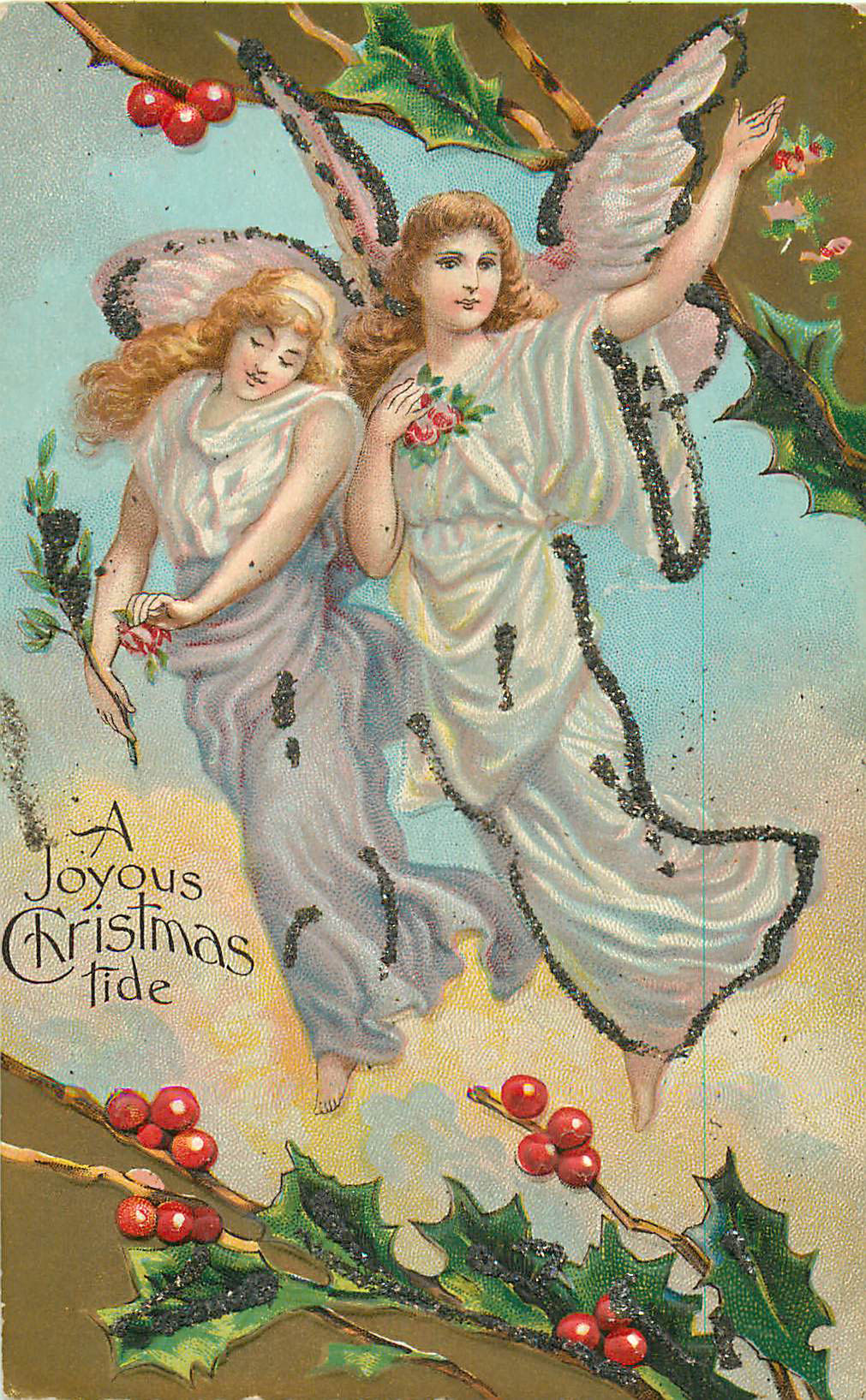 A Joyous Christmas Tide - 2 Angels with Hollly