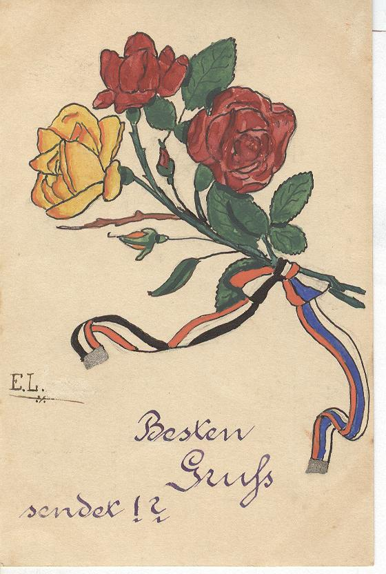 GERMANY roses tied with patriotic ribbon, SIGNED E.L.