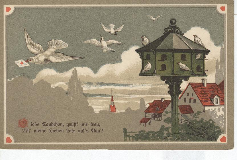 GERMANY GREETING Flying doves over an ocean view - hearts