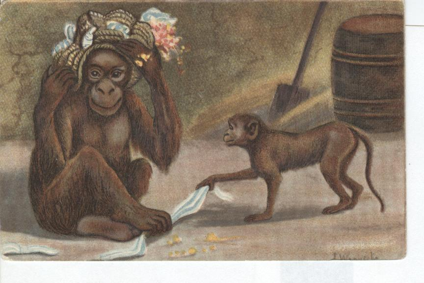MONKEYS Advertising Card Pre 1900. Wirklidh unerhort