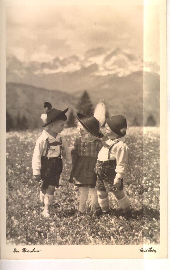 GERMANY REAL PHOTO Small Children in field