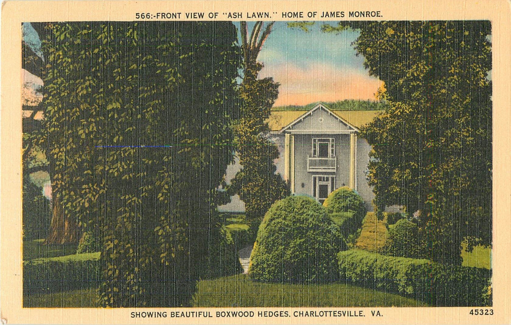 """Front View of Ash Lawn, Home of James Monroe"""
