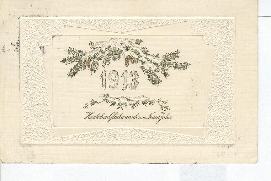 1913 Pine branch & Pine Cones German New Year Postcard
