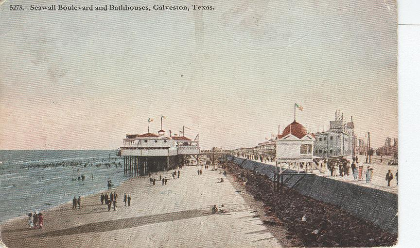 Seawall Boulevard and Bathhouse, Galveston, Texas