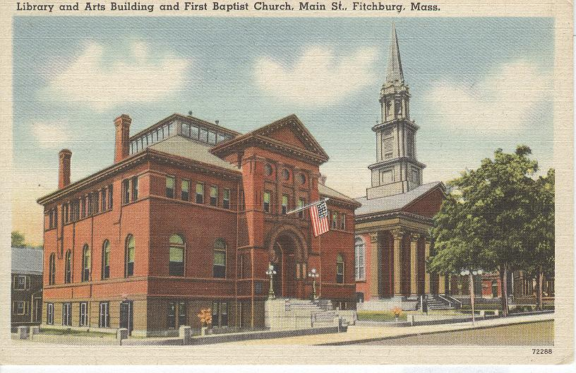 Library and Arts Building and First Baptist Church, Maine St.