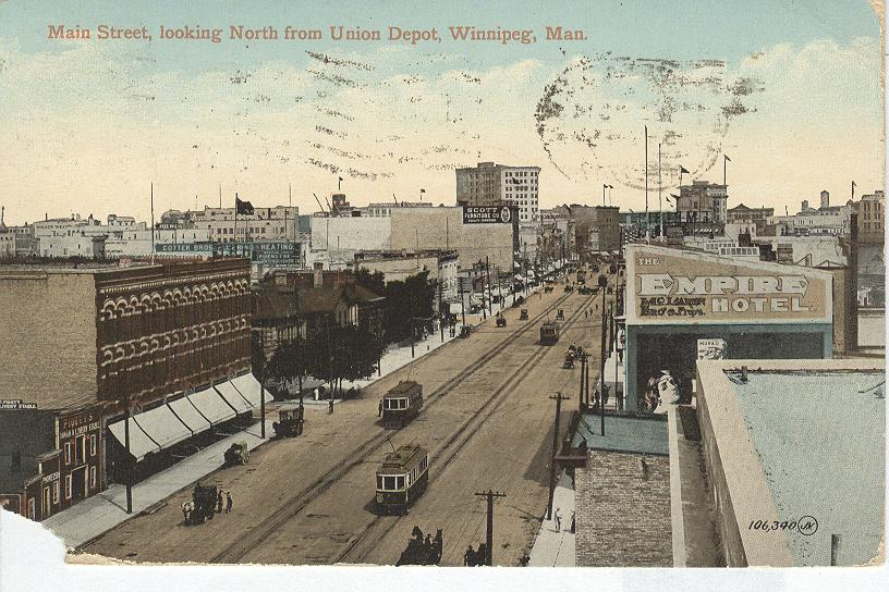 Main Street, looking North from Union Depot, Winnipeg, Man.