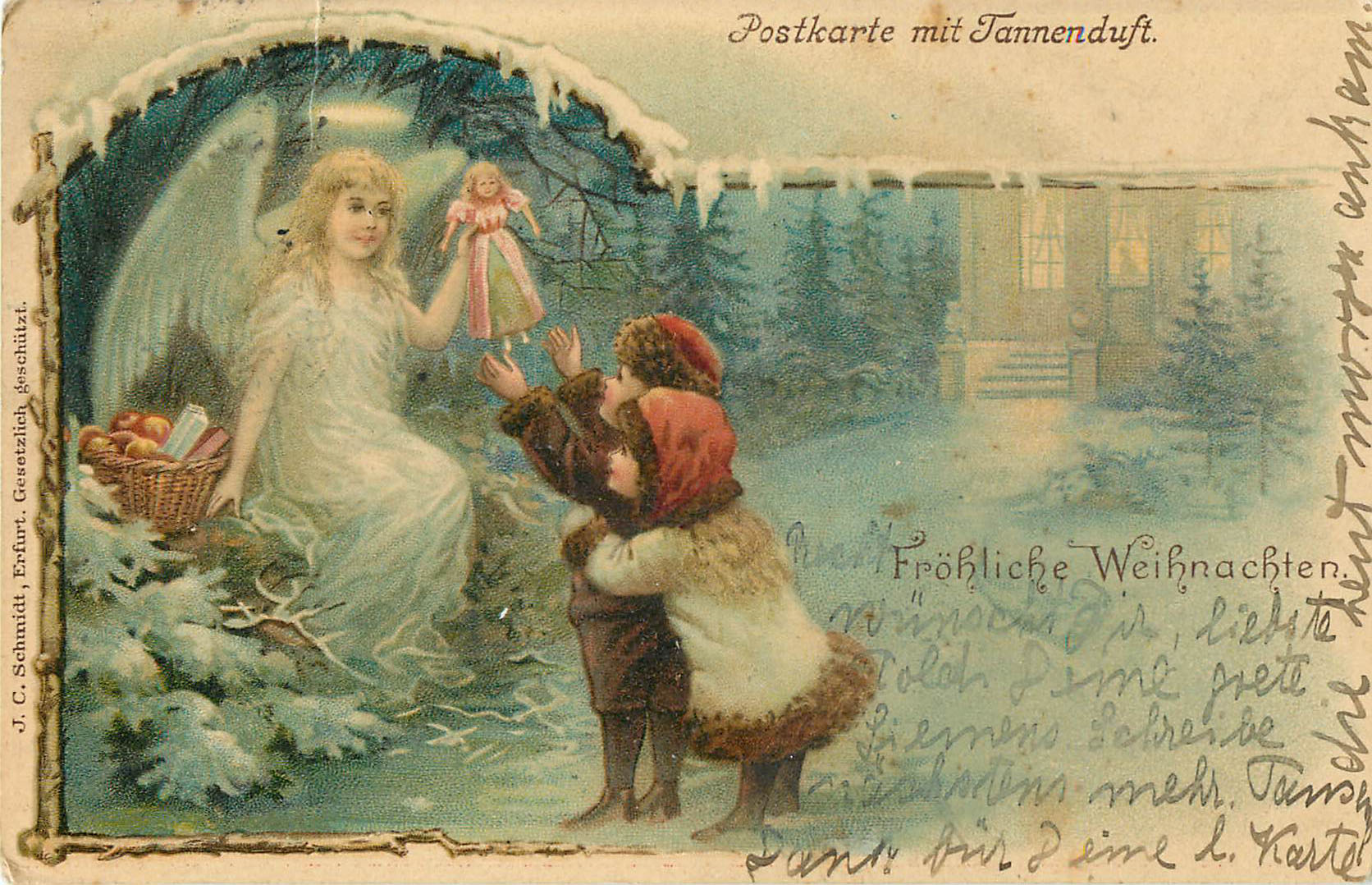 Frohliche Weihnachten - Angels with doll and small children