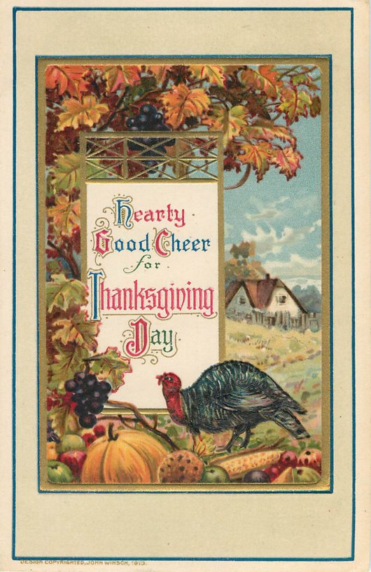 Hearty Good Cheer Thanksgiving Day Postcard
